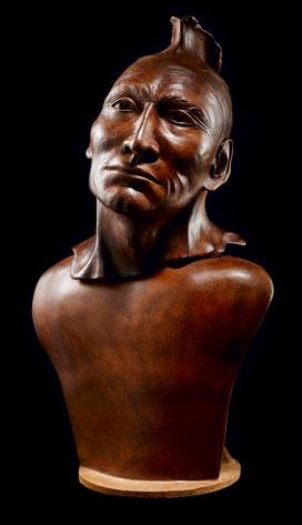 Sculpture, terre cuite, argile, patinée, poétique, ethnique, indien