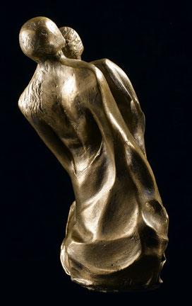 sculpture, terre cuite, argile, patinée, ethnique personnage, couple