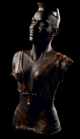Sculpture argile patinée et résine - Etnique - Afrique