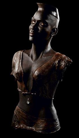 Sculpture argile patinée et résine Etnique  Afrique