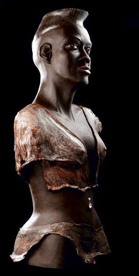 sculpture, terre cuite, argile, patinée, ethnique personnage, Afrique