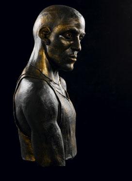 sculpture, terre cuite, argile, patinée, façon bronze, ethnique personnage