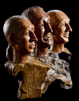 Sculpture, terre cuite, argile, patinée, ethnique personnage, Bois ciré