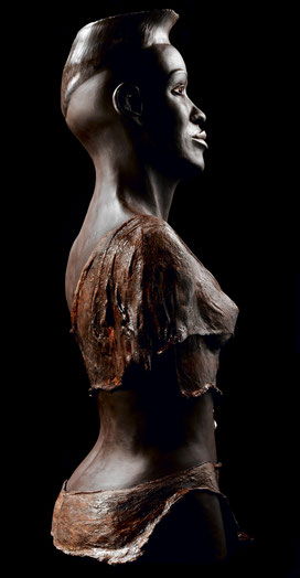 Sculpture terre cuite argile patinée ethnique Afrique personnage