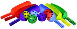 Jeu du scoop à acheter pas cher avec 6 scoop multicolores et 6 balles légères percées pour jeux sportifs d'enfants.