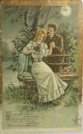 1903年、ゴールド印刷ポストカード、女性、男性