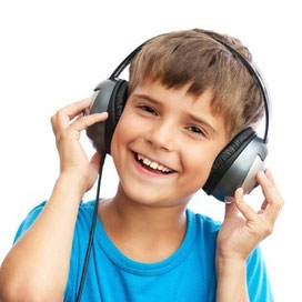 Child with headphones therapeutic listening