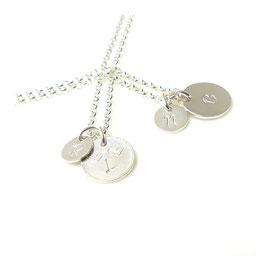 Initialen ♥ 2 runde Plättchen 925 Silberkette Wish