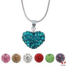 Collier à pendentif coeur shamballa bleu