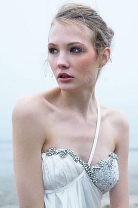 a bride on the beach
