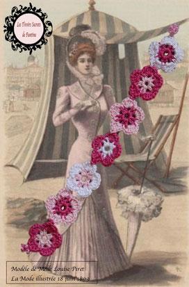 bracelet fait main au crochet, alternant de petites fleurs dans les teintes roses: pale, foncé et blanc, il se ferme par une boule de perles glissée dans un maillon perlé. Ce bracelet est hypoallergénique