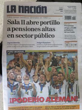 Das Titelbild der größten Zeitung in Costa Rica