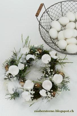 Osterkranz, Kreativblog Schweiz, Osterfloristik, Kranz mit Eierschalen, Frühlingskranz