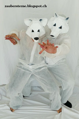 Eisbärmaske, Wolfmaske, Maske selber machen, Maske kleistern, DIY Blog Schweiz, Wintercroftmaske selber machen