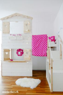 Hochbetthaus selber machen, DIY Kinderbett, Spielhaus, Kinderspielhaus, Spielhaus selber machen, Familienblog Schweiz, Blog
