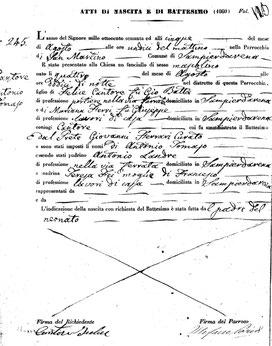 """""""Atto di nascita e Battesimo - Chiesa Santa Maria della Cella e San Martino - Sampierdarena"""""""""""
