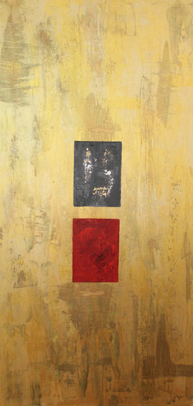 """Trilogie 2 Gold"", Acyryl auf Leinwand, 60x120 cm"