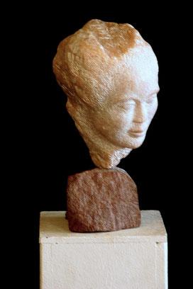 weiblicher Kopf   Speckstein ca. 40 cm