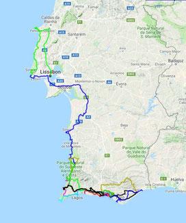 Fast 2 500 km sind wir in den 3 Wochen gefahren.