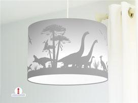 Lampe Kinderzimmer Dinosaurier in Grau aus Baumwollstoff - alle Farben möglich
