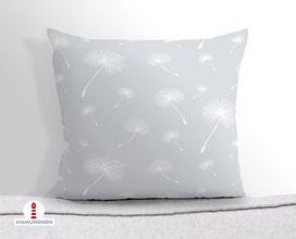 Kissen für Mädchen und Kinderzimmer mit Pusteblumen in Grau aus Baumwollstoff - alle Farben möglich
