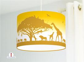 Deckenlampe mit Safari Tieren aus Afrika in Senfgelb aus Baumwolle