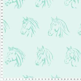 Stoff für Mädchen mit Pferden in Mint zum Nähen für Mädchen - alle Farben möglich