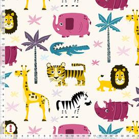 Bio-Stoff Kinderzimmer Safari Tiere Rosa Türkis aus Baumwollstoff - alle Farben möglich