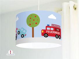Lampe für Jungs und Kinderzimmer mit Autos aus Baumwollstoff - alle Farben möglich