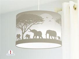 Lampe für Kinderzimmer mit Elefanten in Graubraun aus Bio-Baumwolle - alle Farben möglich