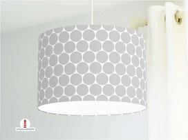 Lampe für Kinderzimmer mit großen Punkten in Grau aus Bio-Baumwolle - alle Farben möglich