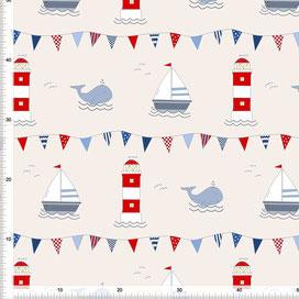 Bio-Stoff für Kinderzimmer maritim mit Wal Leuchtturm und Segelboot zum Nähen - alle Farben möglich