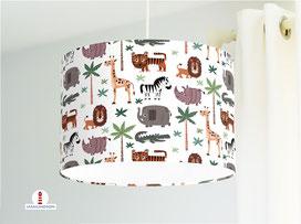 Lampe Kinderzimmer Safari Tiere Afrika auf Weiß aus Bio-Baumwolle - alle Farben möglich