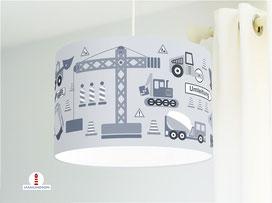 Lampe Kinderzimmer Baustelle in Graublau aus Bio-Baumwolle - alle Farben möglich