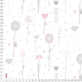Bio-Stoff Kinderzimmer Blumen Grau Rosa auf Weiß aus Bio-Baumwolle - alle Farben möglich