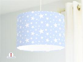 Lampe Sterne in Hellblau Kinderzimmer aus Bio-Baumwolle - alle Farben möglich