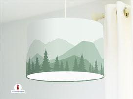 Lampe Kinderzimmer Berge Wald in Tannen-Grün aus Baumwollstoff - alle Farben möglich