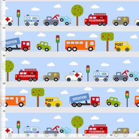 Bio-Stoff für Jungs und Kinderzimmer mit Autos auf Hellblau zum Nähen aus Baumwolle - alle Farben möglich