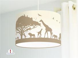 Kinderzimmer Lampe Safari-Tiere Afrika in Cappuccino und Beige aus Bio-Baumwolle - alle Farben möglich