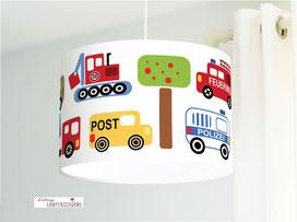 Kinderzimmer Lampe Autos aus Bio-Baumwollstoff - alle Farben möglich