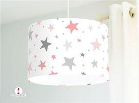 Lampe Sterne Rosa Grau Mädchenzimmer aus Bio-Baumwolle - alle Farben möglich