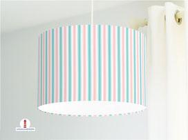 Lampenschirm für Kinderzimmer mit Streifen in Altrosa und Türkis aus Bio-Baumwolle - alle Farben möglich