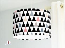 Lampe Kinderzimmer Muster Dreiecke schwarz-weiß aus Baumwollstoff - alle Farben möglich