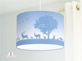 Kinderzimmer Lampe Wald Tiere in Mittelblau aus Bio-Baumwolle - alle Farben möglich