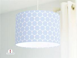 Lampe für Mädchen und Kinderzimmer mit großen Punkten in Hellblau aus Baumwolle - alle Farben möglich
