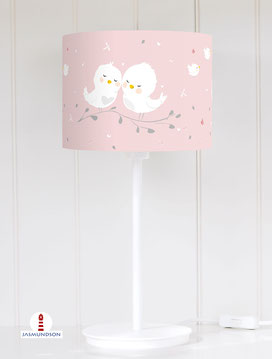 Lampenschirm für Tischlampe Babyzimmer kleine Vögel in Weiß auf Altrosa aus Baumwolle - alle Farben möglich