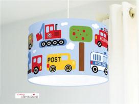 Lampe fürs Kinderzimmer für Jungs mit Autos aus Baumwolle