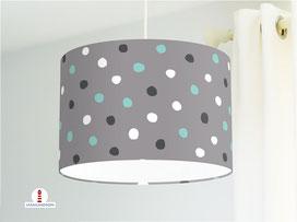 Lampe Kinderzimmer Punkte Türkis Weiß Grau aus Bio-Baumwolle - alle Farben möglich