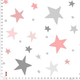 Stoff Sterne Kinderzimmer Altrosa Grau auf Weiß zum Nähen aus Baumwolle - alle Farben möglich