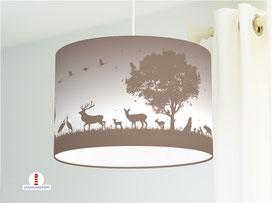 Lampe für  Kinderzimmer mit Waldtieren in hellem Grau-Braun aus Baumwollstoff